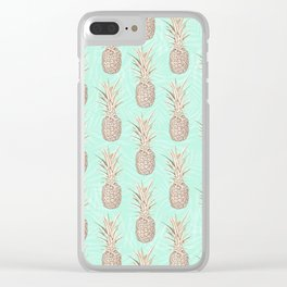 Golden and mint pineapples pattern Clear iPhone Case