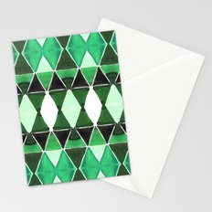 Art Deco Triangles Green Stationery Cards