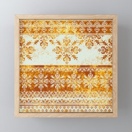 nordic folk in yellows Framed Mini Art Print