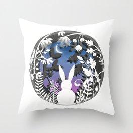 Moonlight Bunny Star Gazer Throw Pillow
