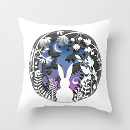Moonlight Bunny Star Gazer Throw Pillow