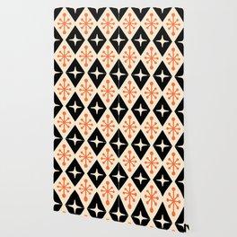 Mid Century Modern Atomic Triangle Pattern 922 Black and Orange Wallpaper