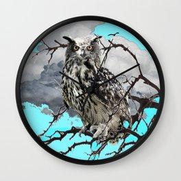 WILDERNESS OWL IN TREE &  BLUE  SKIES Wall Clock