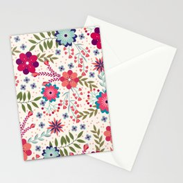 Colorful Floral Spring Pattern Stationery Cards