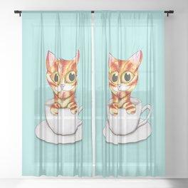 Striped coffee cat Sheer Curtain