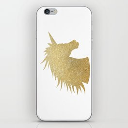 Gold Glitter Unicorn iPhone Skin