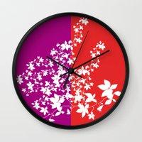 climbing Wall Clocks featuring Climbing Flowers by Mari Biro
