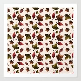 Sparkly leaves fall autumn sparkles pattern Art Print