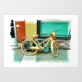 Summer Ride - Yellow Bicycle Art Print