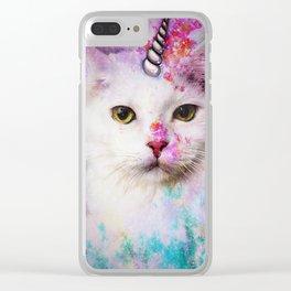 Unicorn Cat Clear iPhone Case