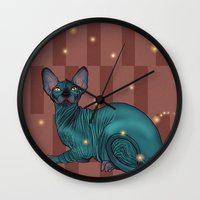 sphynx Wall Clocks featuring Sphynx by Illness
