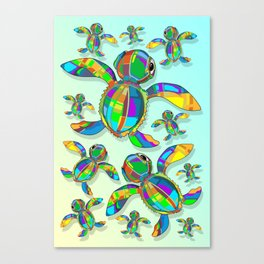 Baby Sea Turtle Fabric Toy Canvas Print