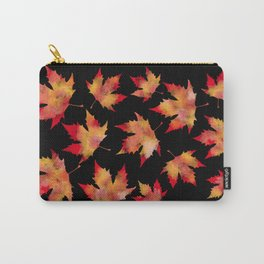 Maple leaves black Carry-All Pouch