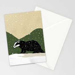 Badger in the Snow Stationery Cards