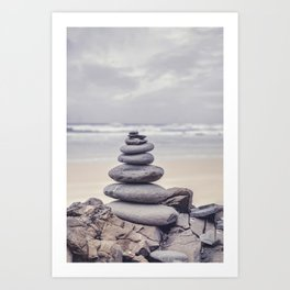 Stone Tower At A Wild Portuguese Beach Art Print