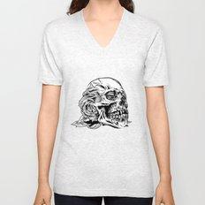 Skullflower Black and White  Unisex V-Neck
