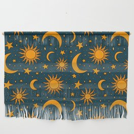 Vintage Sun and Star Print in Navy Wall Hanging