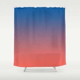 Living Coral Princess Blue Ombre Pattern Trendy Colors of Year 2019 Shower Curtain