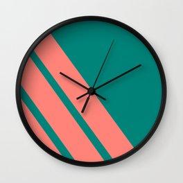 Three stripes coral Wall Clock
