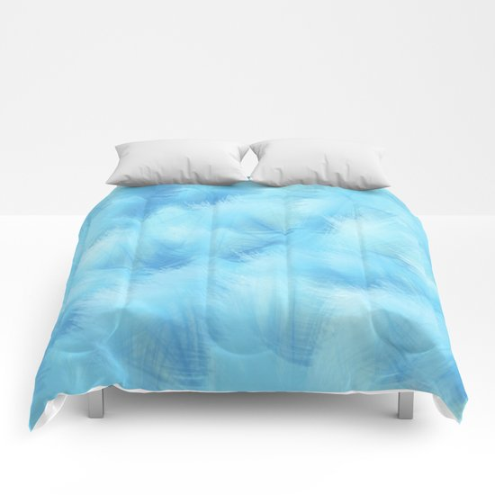 Heavenly Blue Feathers and Fluff Abstract Comforters