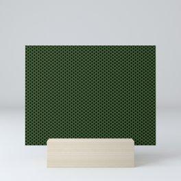 Black and Green Minimal Scallop / Scale Pattern - Digital Graphic Design Mini Art Print