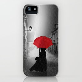 Alone in the rainy night iPhone Case