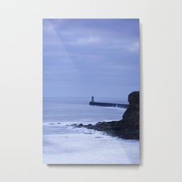 North Pier Lighthouse at dawn from Sharpness Point. Tynemouth, Northumberland, UK in Winter Metal Print