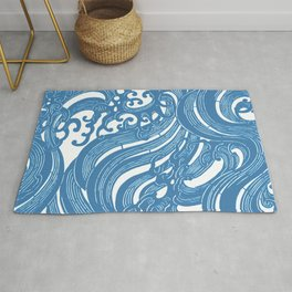 Stencil with Pattern of Waves,19th century Japan (Edited Blue) Rug