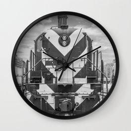 Chicago and North Western Diesel Electric ALCO Locomotive Train Engine 1689 Black and White Photography Wall Clock