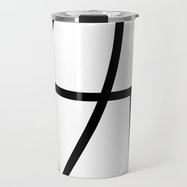 POSITIVE simple black abstract lines on solid white background Travel Mug