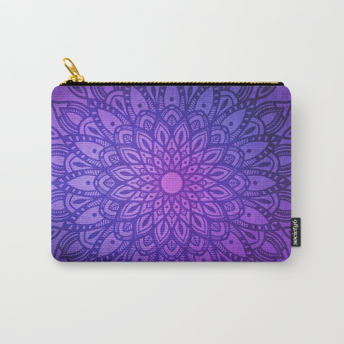 Dark Mandala on Purple, Pink and Navy Carry-All Pouch
