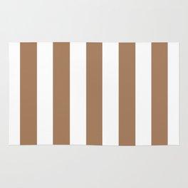 Café au lait brown - solid color - white vertical lines pattern Rug