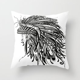 Native American Indian Headdress Warbonnet Black and White Throw Pillow
