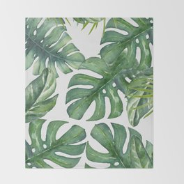 Monstera Leaves Throw Blanket