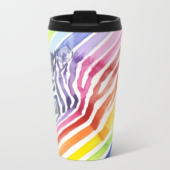 Animal Zebra Rainbow Metal Travel Mug