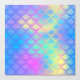 Blue Yellow Mermaid Tail Abstraction Canvas Print