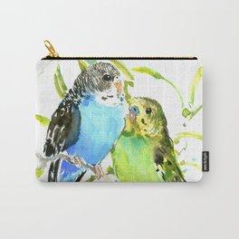 Budgies, love bird green blue decor Carry-All Pouch