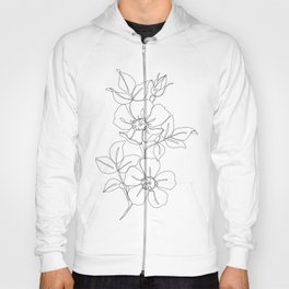 Floral one line drawing - Rose Hoody