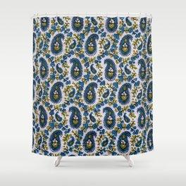 Blockprint Paisley Sage-Blue-White Shower Curtain