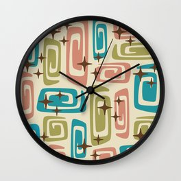 Mid Century Modern Cosmic Galaxies 436 Olive Blue and Dusty Rose Wall Clock