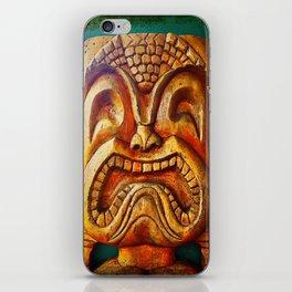 Crazy, fun, fierce, Hawaiian retro wood carving tiki face close-up photo iPhone Skin