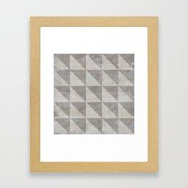 Grey concrete geometry vintage pattern Framed Art Print