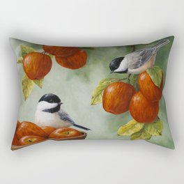Chickadees and Apple Tree Harvest Rectangular Pillow