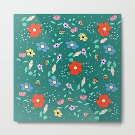 Flower pattern with green background Metal Print