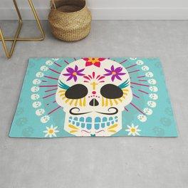 Dios De Los Muertos Day of the Dead Sugar Skull Fiesta Rug