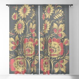 Golden russian folk Sheer Curtain
