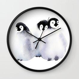 Fluffy Penguins - Baby Animals Wall Clock