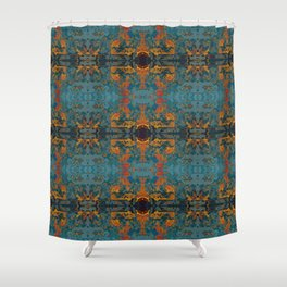 The Spindles- Blue and Orange Filigree  Shower Curtain