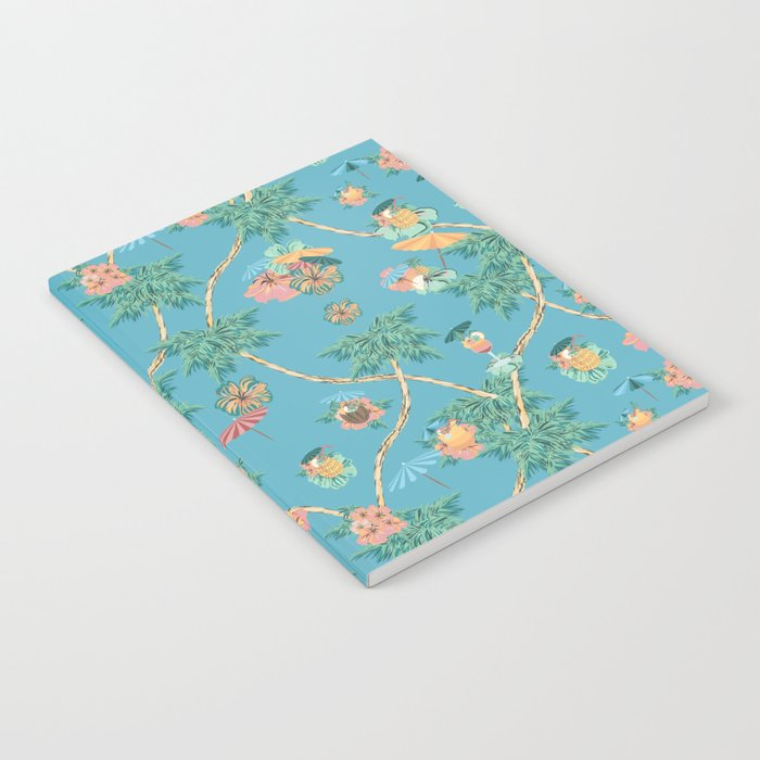 Tropical blue retro cocktail pattern Notebook
