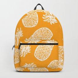 White Hand Drawn Pineapples on Orange Backpack